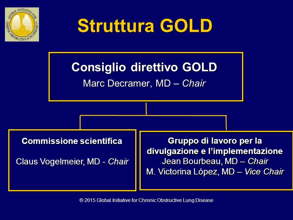 Struttura GOLD Consiglio direttivo GOLD Marc Decramer, MD – Chair Consiglio direttivo GOLD Marc Decramer, MD – Chair Commissione scientifica Claus Vog