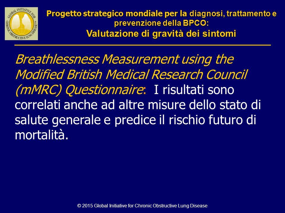 Breathlessness Measurement using the Modified British Medical Research Council (mMRC) Questionnaire: I risultati sono correlati anche ad altre misure