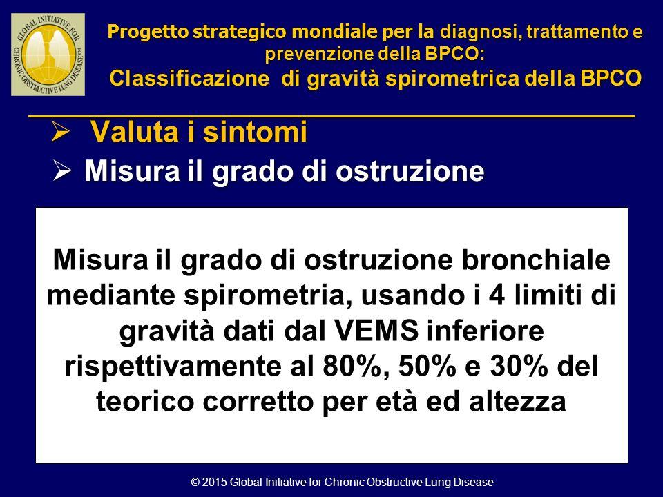 © 2015 Global Initiative for Chronic Obstructive Lung Disease Misura il grado di ostruzione bronchiale mediante spirometria, usando i 4 limiti di grav