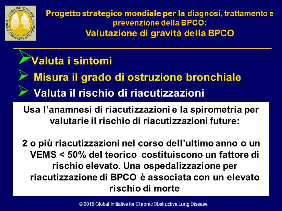  Valuta i sintomi  Misura il grado di ostruzione bronchiale  Valuta il rischio di riacutizzazioni Usa l'anamnesi di riacutizzazioni e la spirometri
