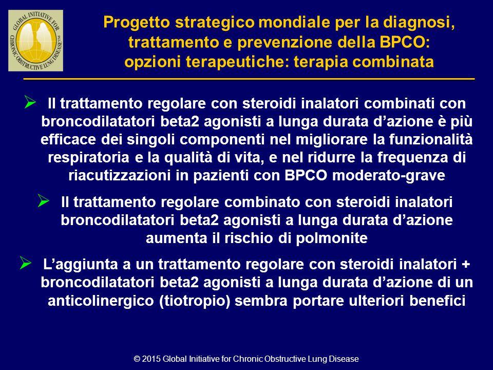 © 2015 Global Initiative for Chronic Obstructive Lung Disease  Il trattamento regolare con steroidi inalatori combinati con broncodilatatori beta2 ag