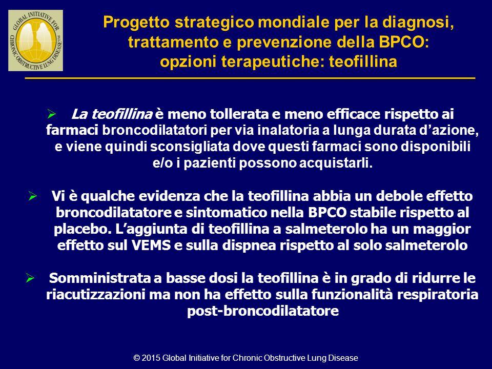 © 2015 Global Initiative for Chronic Obstructive Lung Disease  La teofillina è meno tollerata e meno efficace rispetto ai farmaci broncodilatatori pe