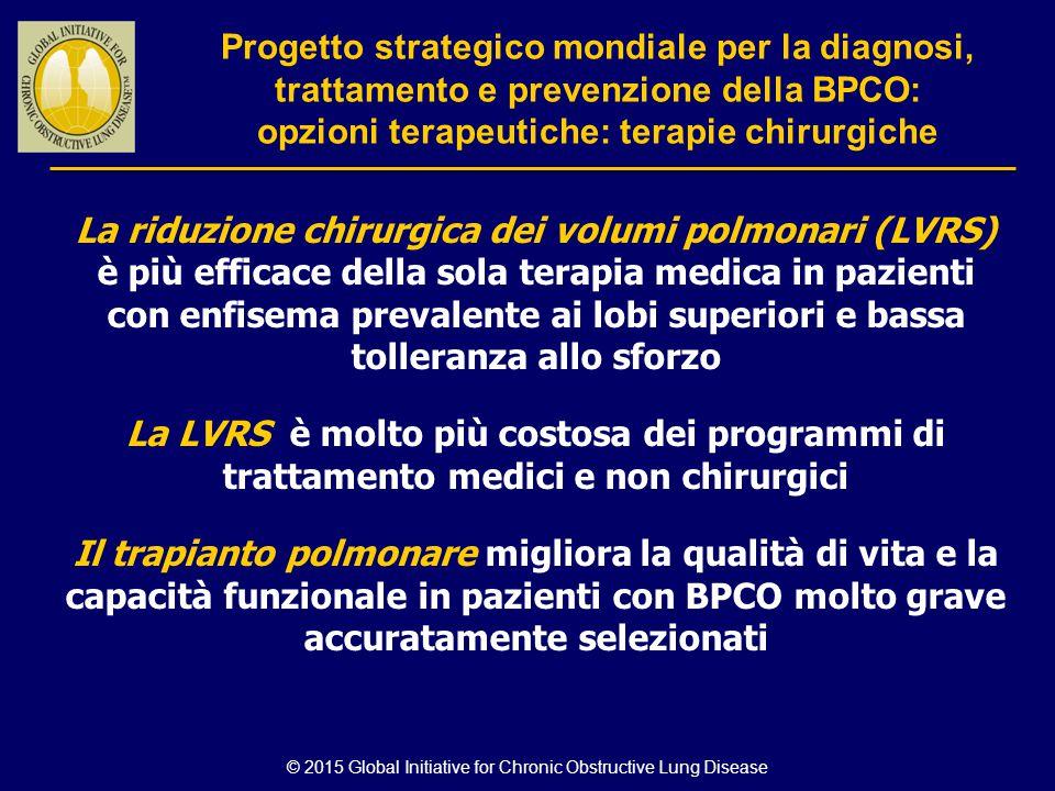 © 2015 Global Initiative for Chronic Obstructive Lung Disease La riduzione chirurgica dei volumi polmonari (LVRS) è più efficace della sola terapia me