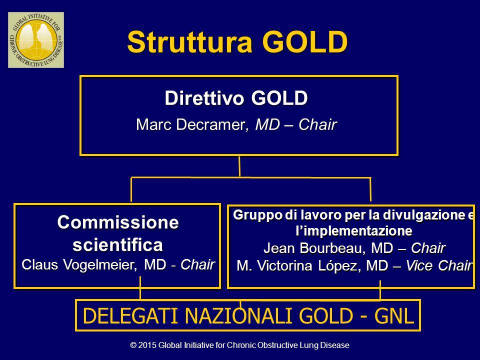 Struttura GOLD Direttivo GOLD Marc Decramer, MD – Chair Direttivo GOLD Marc Decramer, MD – Chair Commissione scientifica Claus Vogelmeier, MD - Chair