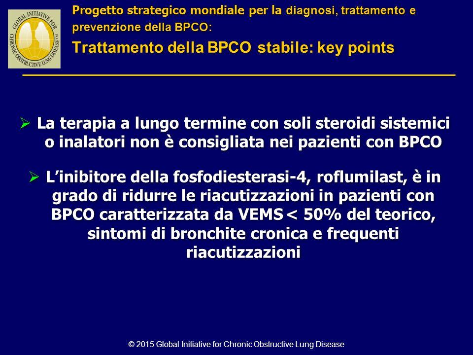 © 2015 Global Initiative for Chronic Obstructive Lung Disease  La terapia a lungo termine con soli steroidi sistemici o inalatori non è consigliata n