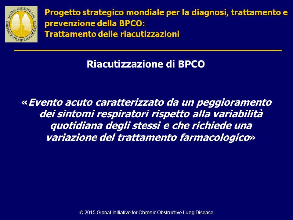 © 2015 Global Initiative for Chronic Obstructive Lung Disease Riacutizzazione di BPCO «Evento acuto caratterizzato da un peggioramento dei sintomi res
