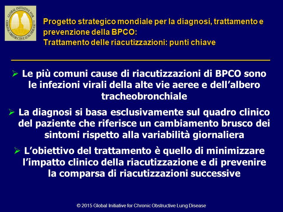 © 2015 Global Initiative for Chronic Obstructive Lung Disease  Le più comuni cause di riacutizzazioni di BPCO sono le infezioni virali della alte vie