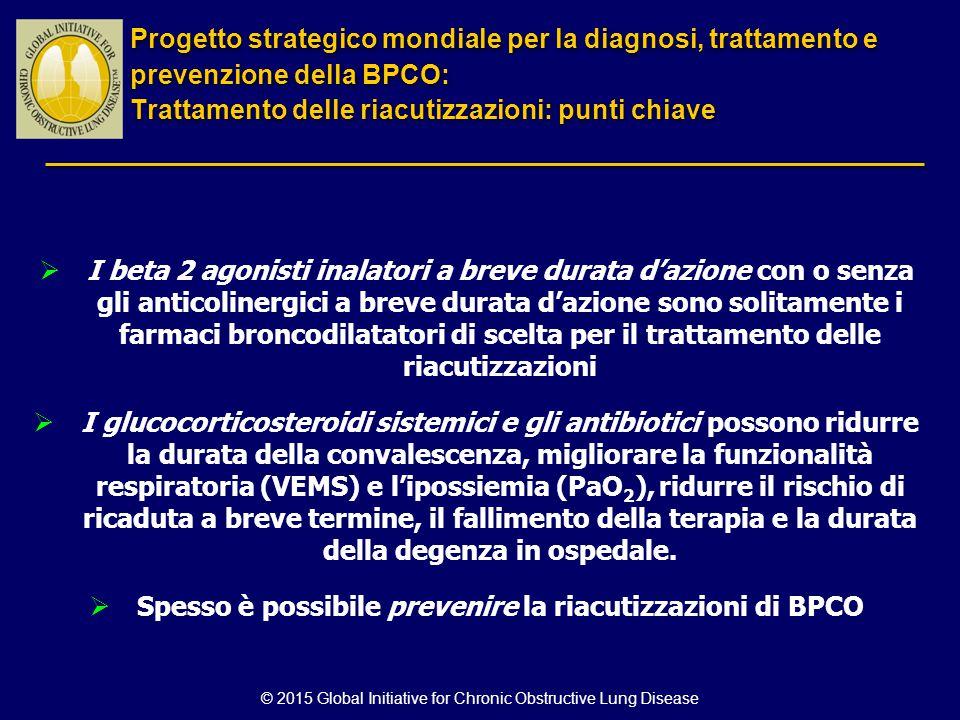 © 2015 Global Initiative for Chronic Obstructive Lung Disease  I beta 2 agonisti inalatori a breve durata d'azione con o senza gli anticolinergici a