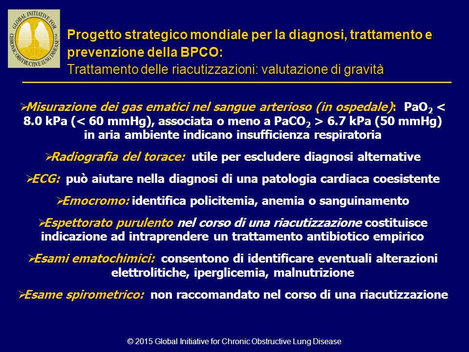 © 2015 Global Initiative for Chronic Obstructive Lung Disease  Misurazione dei gas ematici nel sangue arterioso (in ospedale): PaO 2 6.7 kPa (50 mmHg