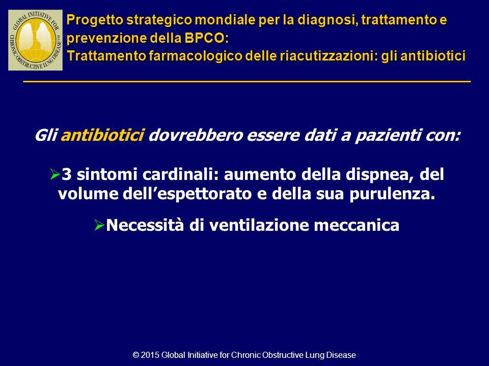 © 2015 Global Initiative for Chronic Obstructive Lung Disease Gli antibiotici dovrebbero essere dati a pazienti con:  3 sintomi cardinali: aumento de