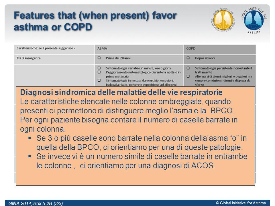 © Global Initiative for Asthma Features that (when present) favor asthma or COPD GINA 2014, Box 5-2B (3/3) Diagnosi sindromica delle malattie delle vi