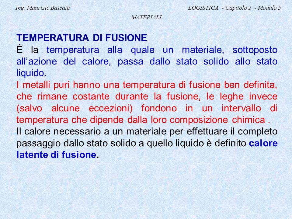 Ing. Maurizio Bassani LOGISTICA - Capitolo 2 - Modulo 5 MATERIALI TEMPERATURA DI FUSIONE È la temperatura alla quale un materiale, sottoposto all'azio