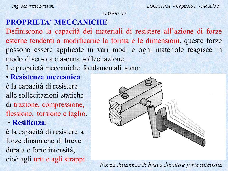 Ing. Maurizio Bassani LOGISTICA - Capitolo 2 - Modulo 5 MATERIALI PROPRIETA' MECCANICHE Definiscono la capacità dei materiali di resistere all'azione