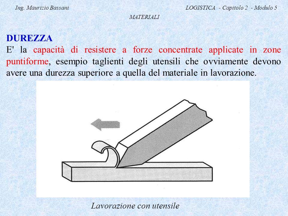 Ing. Maurizio Bassani LOGISTICA - Capitolo 2 - Modulo 5 MATERIALI DUREZZA E' la capacità di resistere a forze concentrate applicate in zone puntiforme
