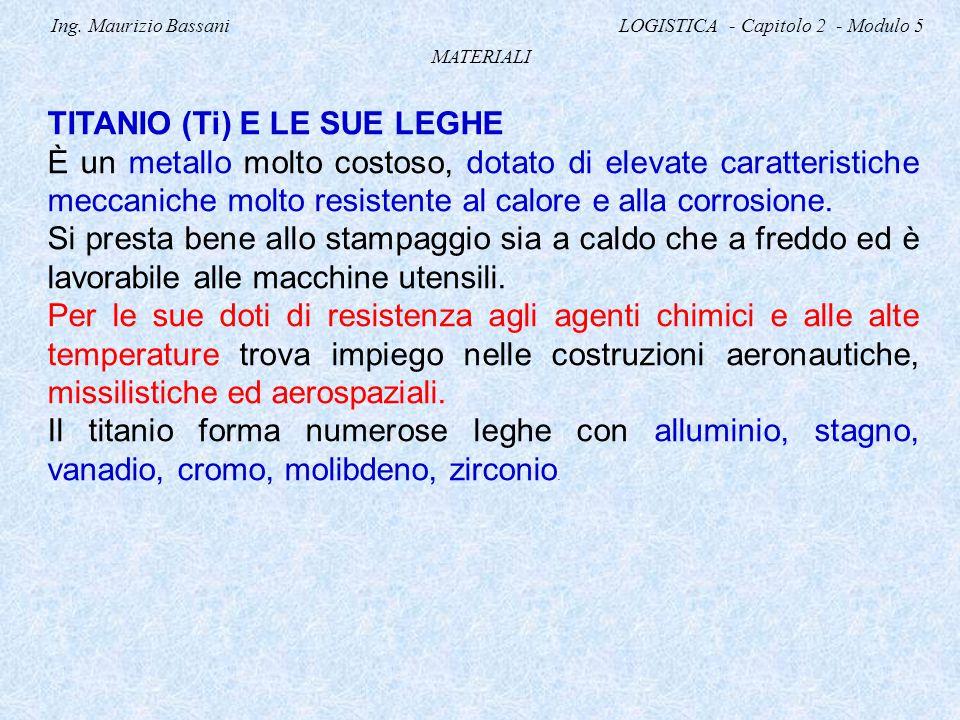 Ing. Maurizio Bassani LOGISTICA - Capitolo 2 - Modulo 5 MATERIALI TITANIO (Ti) E LE SUE LEGHE È un metallo molto costoso, dotato di elevate caratteris