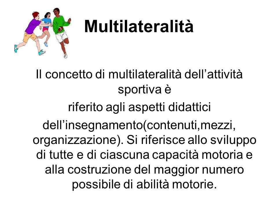 Multilateralità Il concetto di multilateralità dell'attività sportiva è riferito agli aspetti didattici dell'insegnamento(contenuti,mezzi, organizzazi