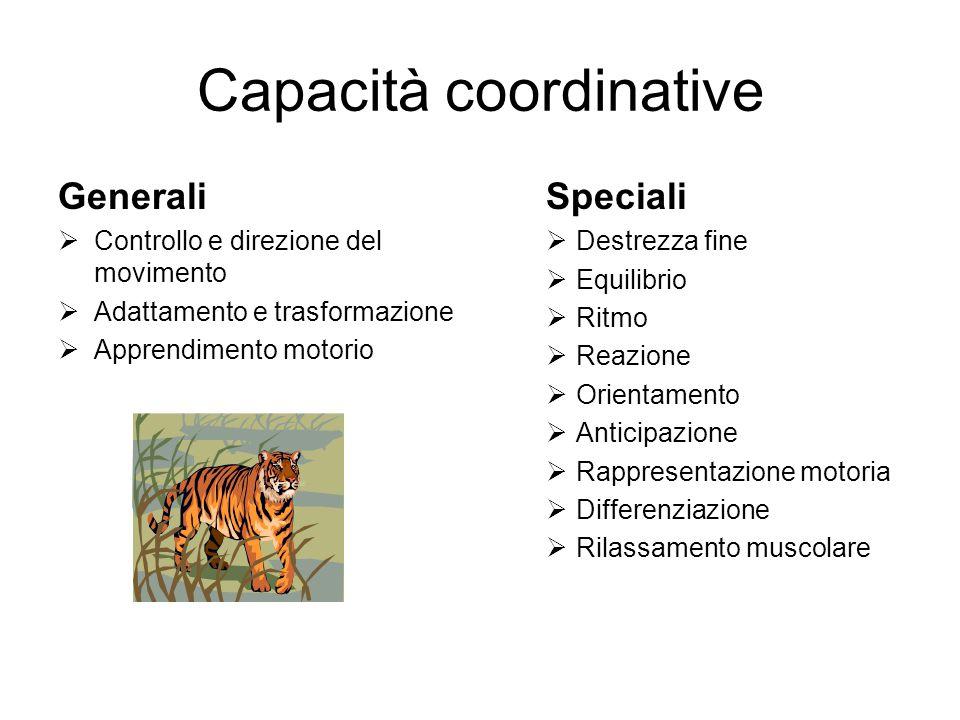 Capacità coordinative Generali  Controllo e direzione del movimento  Adattamento e trasformazione  Apprendimento motorio Speciali  Destrezza fine