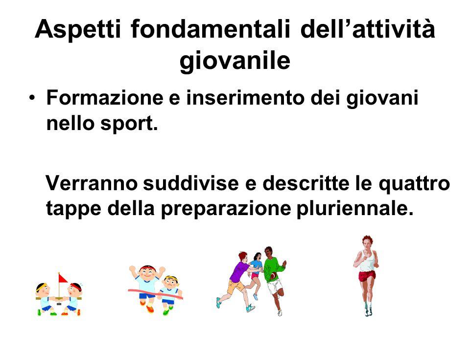 Aspetti fondamentali dell'attività giovanile Formazione e inserimento dei giovani nello sport. Verranno suddivise e descritte le quattro tappe della p