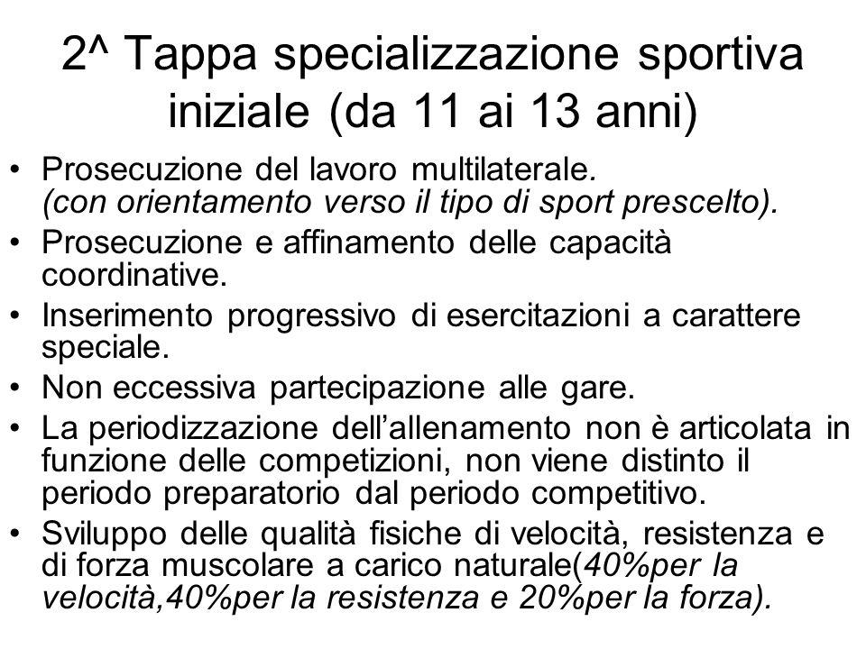 2^ Tappa specializzazione sportiva iniziale (da 11 ai 13 anni) Prosecuzione del lavoro multilaterale. (con orientamento verso il tipo di sport prescel