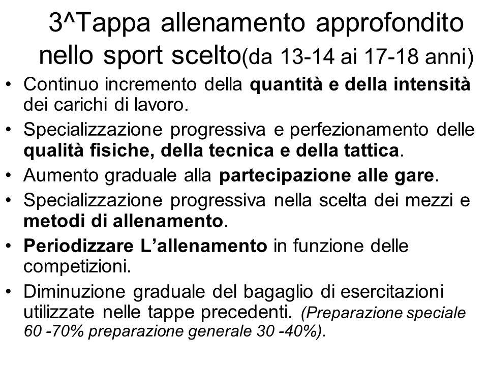 3^Tappa allenamento approfondito nello sport scelto (da 13-14 ai 17-18 anni) Continuo incremento della quantità e della intensità dei carichi di lavor