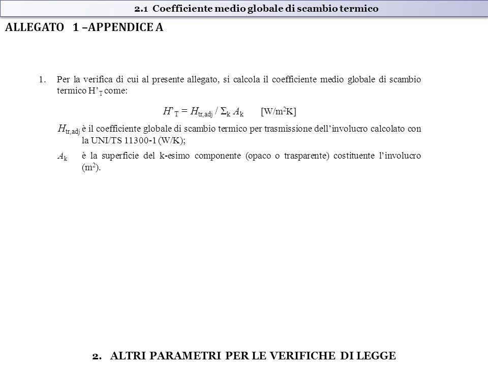 1.Per la verifica di cui al presente allegato, si calcola il coefficiente medio globale di scambio termico H' T come: H' T = H tr,adj / Σ k A k [W/m 2 K] H tr,adj è il coefficiente globale di scambio termico per trasmissione dell'involucro calcolato con la UNI/TS 11300-1 (W/K); A k è la superficie del k-esimo componente (opaco o trasparente) costituente l'involucro (m 2 ).