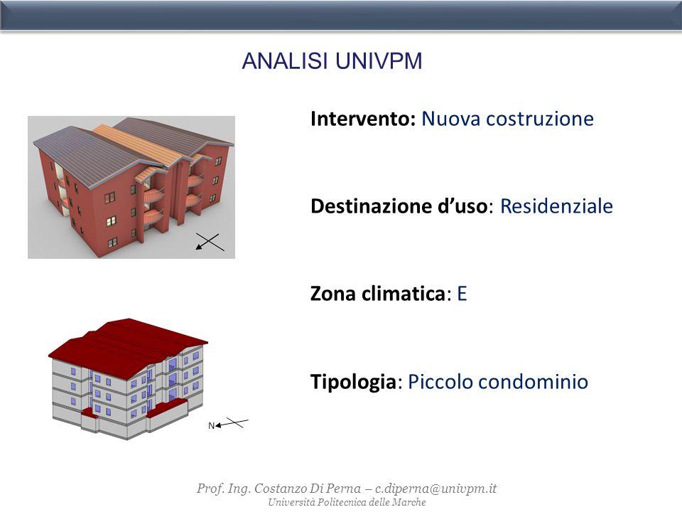 N ANALISI UNIVPM Intervento: Nuova costruzione Destinazione d'uso: Residenziale Zona climatica: E Tipologia: Piccolo condominio Prof.