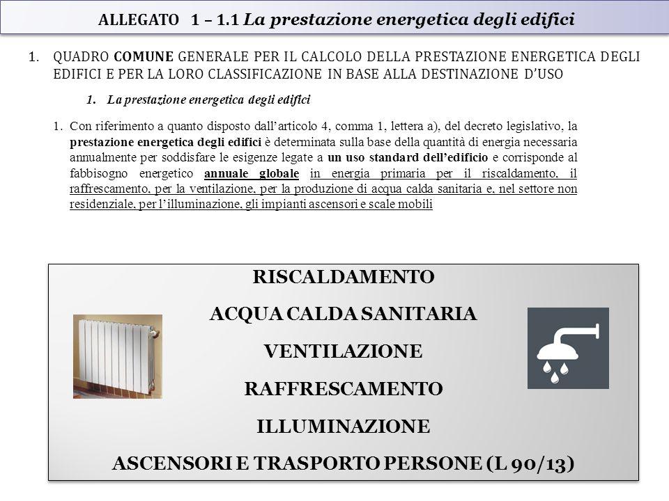 ALLEGATO 1 – 1.1 La prestazione energetica degli edifici 1.QUADRO COMUNE GENERALE PER IL CALCOLO DELLA PRESTAZIONE ENERGETICA DEGLI EDIFICI E PER LA LORO CLASSIFICAZIONE IN BASE ALLA DESTINAZIONE D'USO 1.La prestazione energetica degli edifici 1.Con riferimento a quanto disposto dall'articolo 4, comma 1, lettera a), del decreto legislativo, la prestazione energetica degli edifici è determinata sulla base della quantità di energia necessaria annualmente per soddisfare le esigenze legate a un uso standard dell'edificio e corrisponde al fabbisogno energetico annuale globale in energia primaria per il riscaldamento, il raffrescamento, per la ventilazione, per la produzione di acqua calda sanitaria e, nel settore non residenziale, per l'illuminazione, gli impianti ascensori e scale mobili RISCALDAMENTO ACQUA CALDA SANITARIA VENTILAZIONE RAFFRESCAMENTO ILLUMINAZIONE ASCENSORI E TRASPORTO PERSONE (L 90/13) RISCALDAMENTO ACQUA CALDA SANITARIA VENTILAZIONE RAFFRESCAMENTO ILLUMINAZIONE ASCENSORI E TRASPORTO PERSONE (L 90/13)