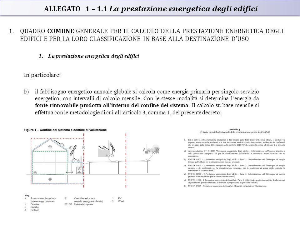 ALLEGATO 1 – 1.1 La prestazione energetica degli edifici 1.QUADRO COMUNE GENERALE PER IL CALCOLO DELLA PRESTAZIONE ENERGETICA DEGLI EDIFICI E PER LA LORO CLASSIFICAZIONE IN BASE ALLA DESTINAZIONE D'USO 1.La prestazione energetica degli edifici In particolare: b)il fabbisogno energetico annuale globale si calcola come energia primaria per singolo servizio energetico, con intervalli di calcolo mensile.