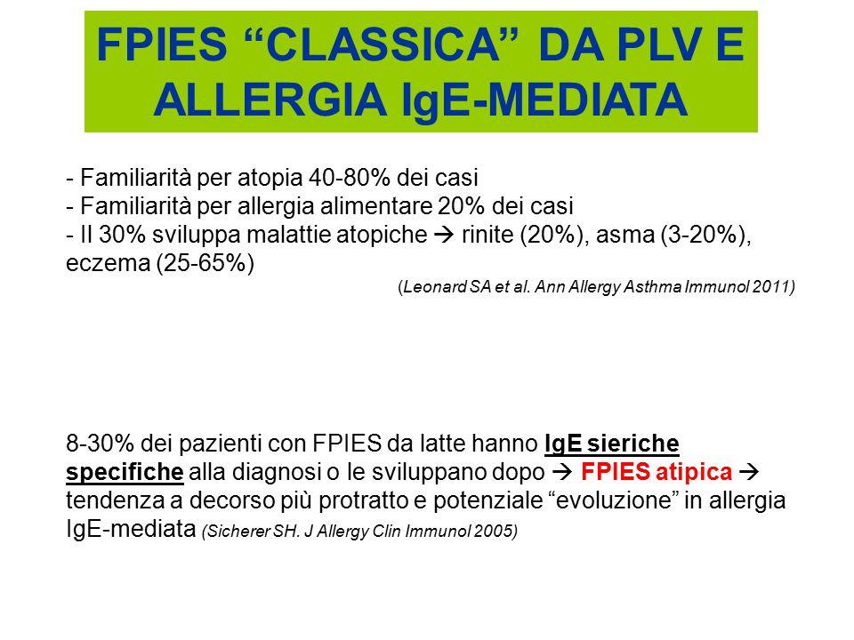 """FPIES """"CLASSICA"""" DA PLV E ALLERGIA IgE-MEDIATA 8-30% dei pazienti con FPIES da latte hanno IgE sieriche specifiche alla diagnosi o le sviluppano dopo"""
