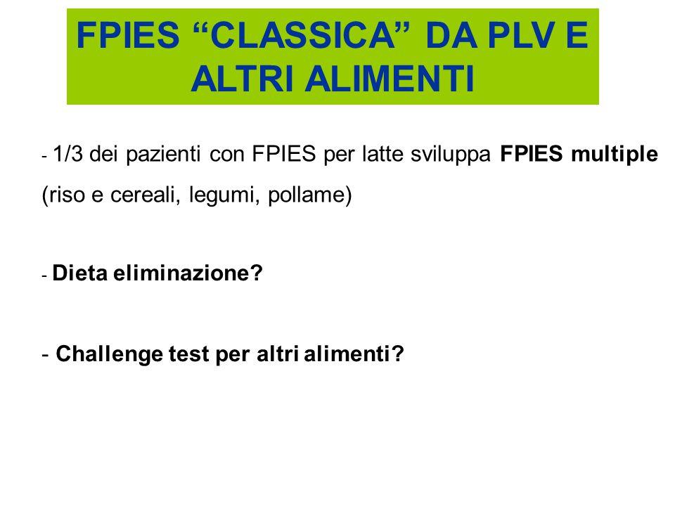 """FPIES """"CLASSICA"""" DA PLV E ALTRI ALIMENTI - 1/3 dei pazienti con FPIES per latte sviluppa FPIES multiple (riso e cereali, legumi, pollame) - Dieta elim"""