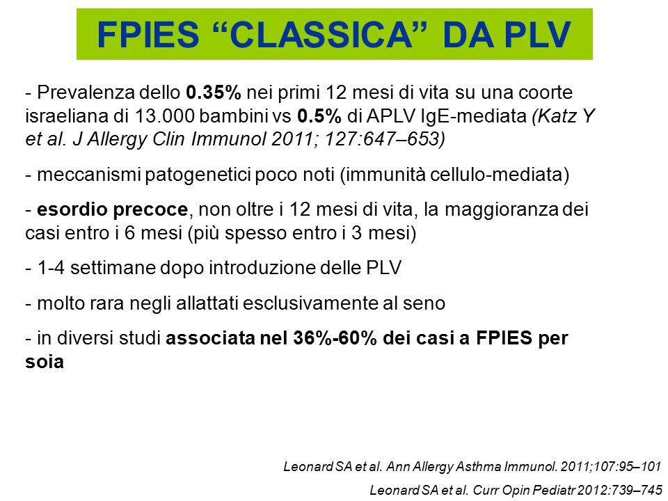 """FPIES """"CLASSICA"""" DA PLV - Prevalenza dello 0.35% nei primi 12 mesi di vita su una coorte israeliana di 13.000 bambini vs 0.5% di APLV IgE-mediata (Kat"""