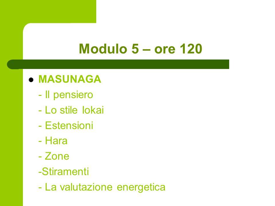 Modulo 5 – ore 120 MASUNAGA - Il pensiero - Lo stile Iokai - Estensioni - Hara - Zone -Stiramenti - La valutazione energetica