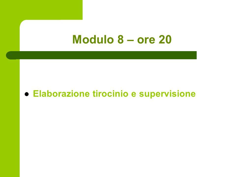 Modulo 8 – ore 20 Elaborazione tirocinio e supervisione