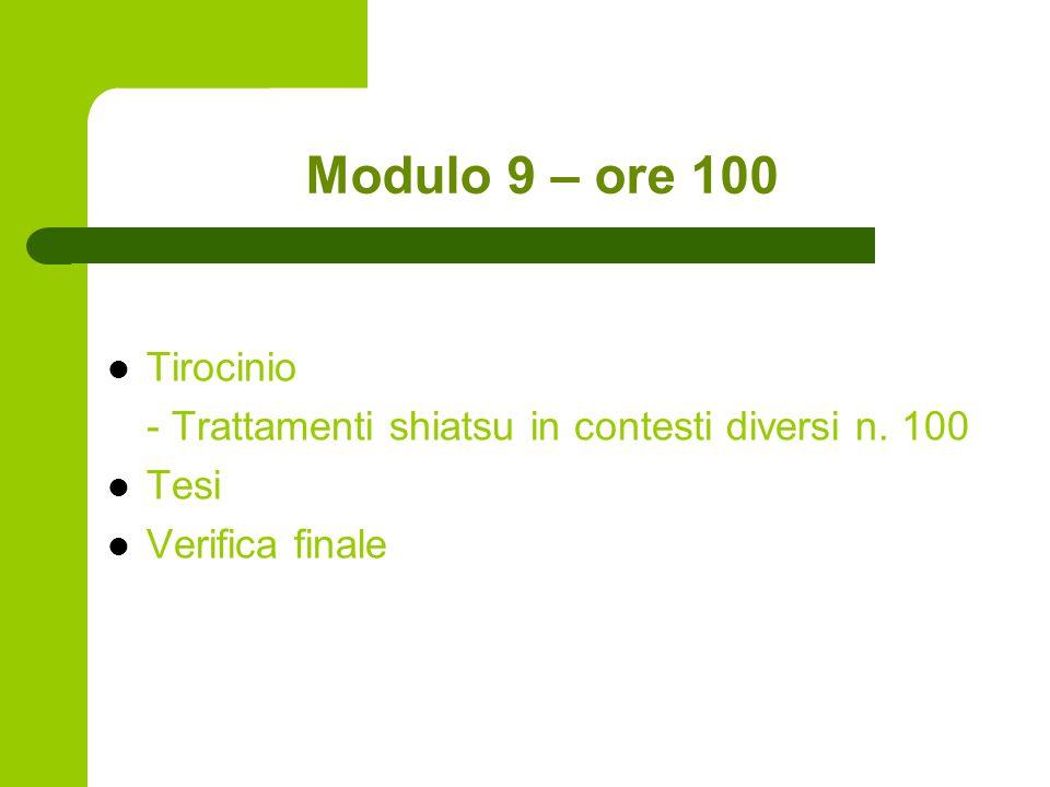 Modulo 9 – ore 100 Tirocinio - Trattamenti shiatsu in contesti diversi n. 100 Tesi Verifica finale