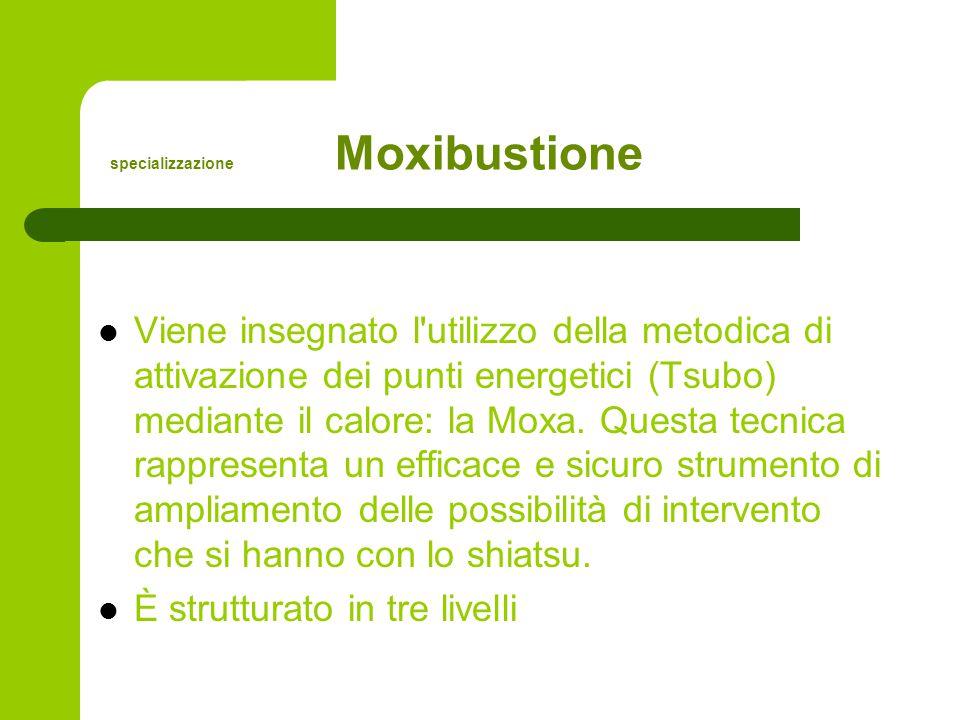 specializzazione Moxibustione Viene insegnato l utilizzo della metodica di attivazione dei punti energetici (Tsubo) mediante il calore: la Moxa.