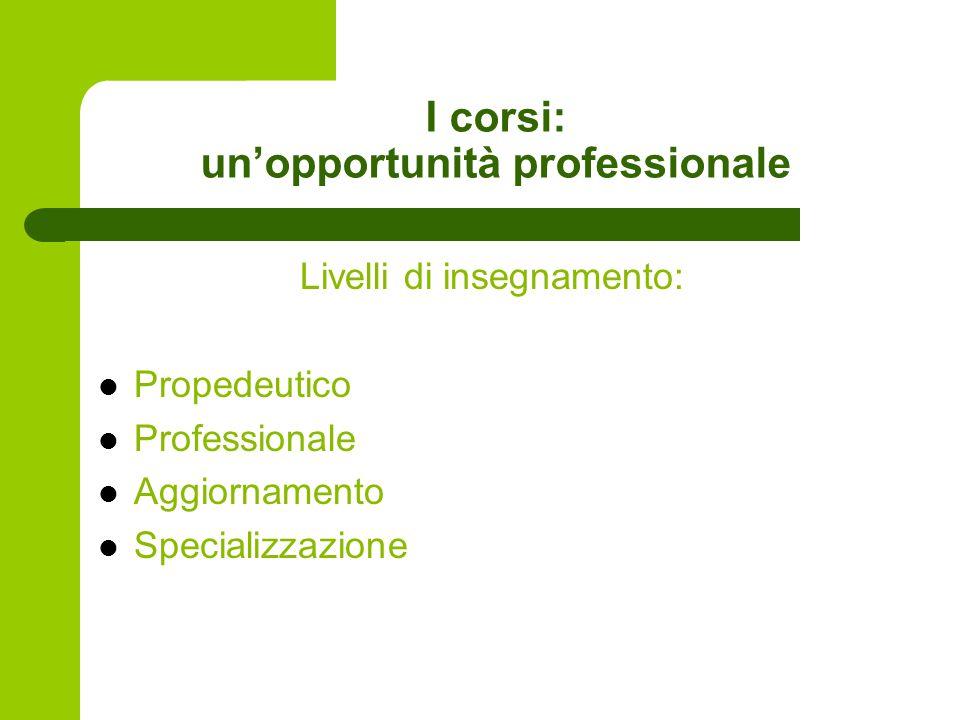 I corsi: un'opportunità professionale Livelli di insegnamento: Propedeutico Professionale Aggiornamento Specializzazione