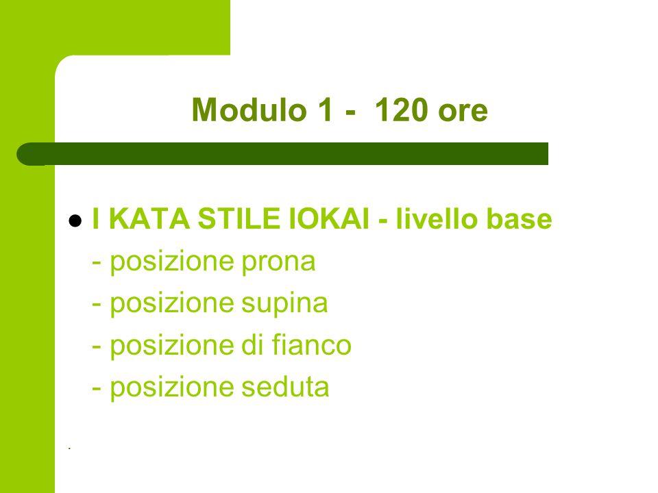 Modulo 1 - 120 ore I KATA STILE IOKAI - livello base - posizione prona - posizione supina - posizione di fianco - posizione seduta.