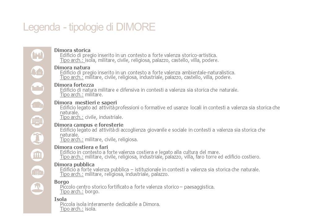 Legenda - tipologie di DIMORE Dimora storica Edificio di pregio inserito in un contesto a forte valenza storico-artistica.