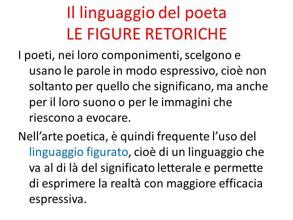 Il linguaggio del poeta LE FIGURE RETORICHE I poeti, nei loro componimenti, scelgono e usano le parole in modo espressivo, cioè non soltanto per quell