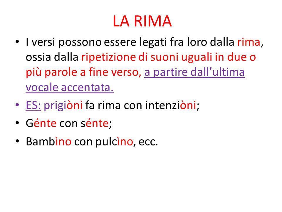 LA RIMA I versi possono essere legati fra loro dalla rima, ossia dalla ripetizione di suoni uguali in due o più parole a fine verso, a partire dall'ul