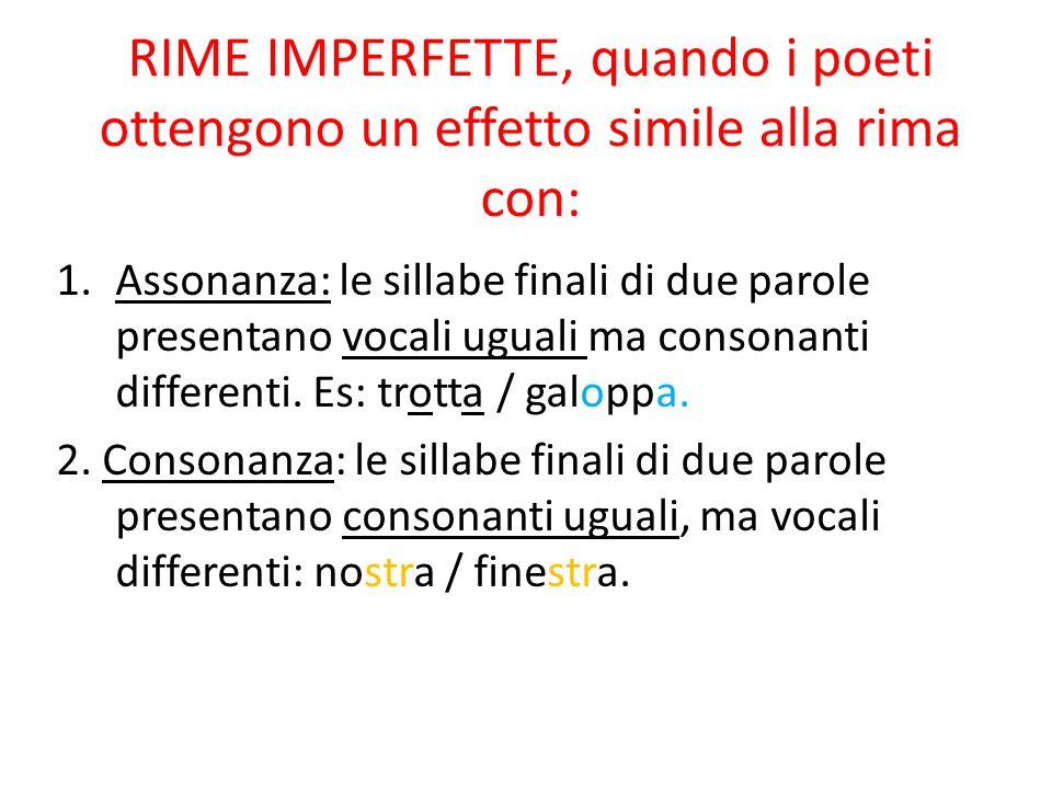 RIME IMPERFETTE, quando i poeti ottengono un effetto simile alla rima con: 1.Assonanza: le sillabe finali di due parole presentano vocali uguali ma co