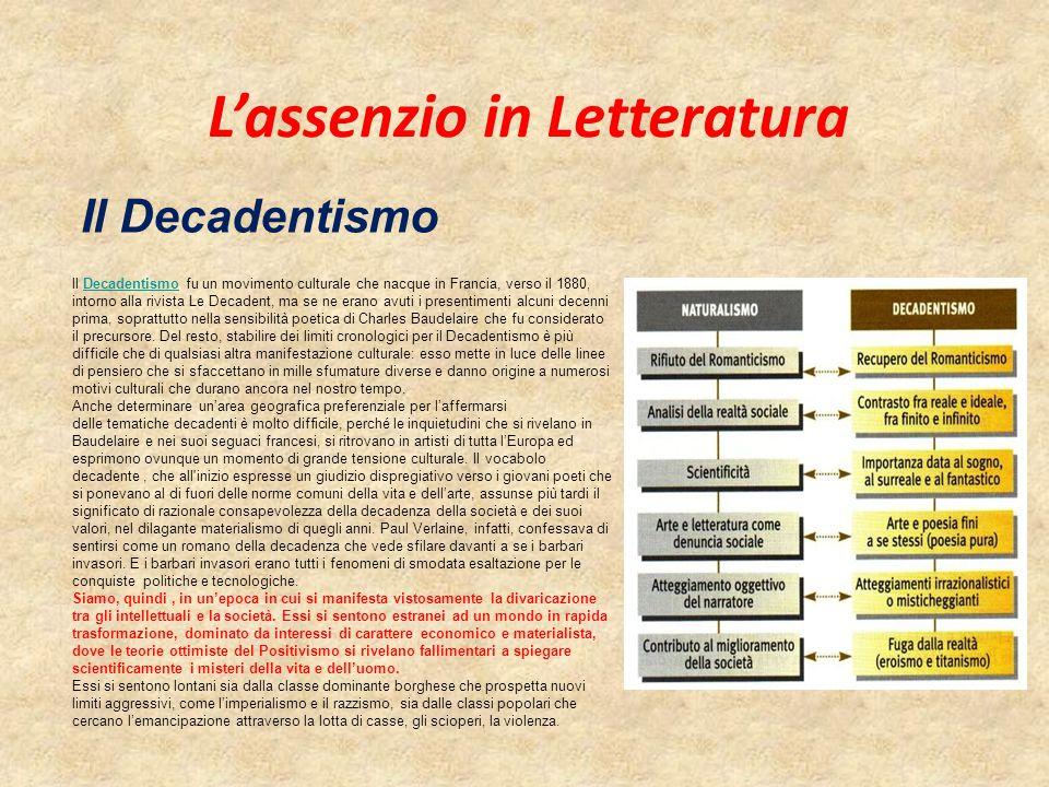 Il Decadentismo L'assenzio in Letteratura ll Decadentismo fu un movimento culturale che nacque in Francia, verso il 1880, intorno alla rivista Le Deca