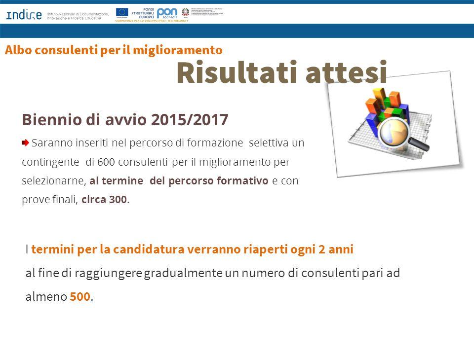 Risultati attesi Biennio di avvio 2015/2017 Saranno inseriti nel percorso di formazione selettiva un contingente di 600 consulenti per il migliorament