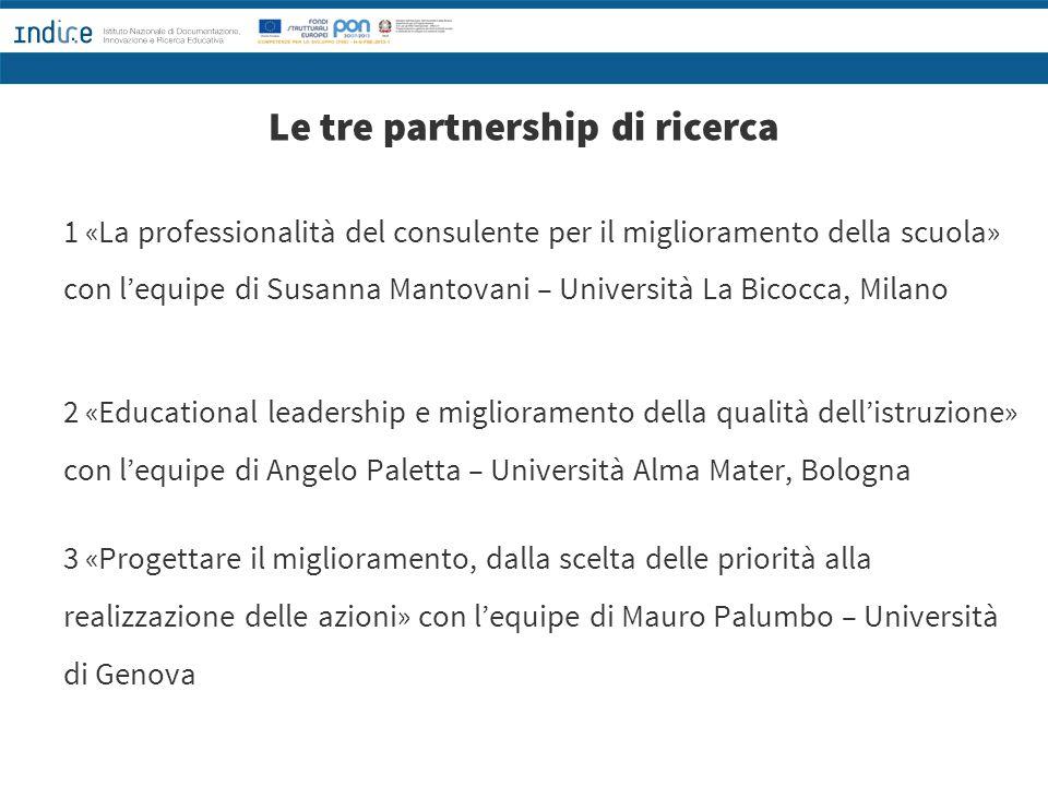 Le tre partnership di ricerca 1 «La professionalità del consulente per il miglioramento della scuola» con l'equipe di Susanna Mantovani – Università L
