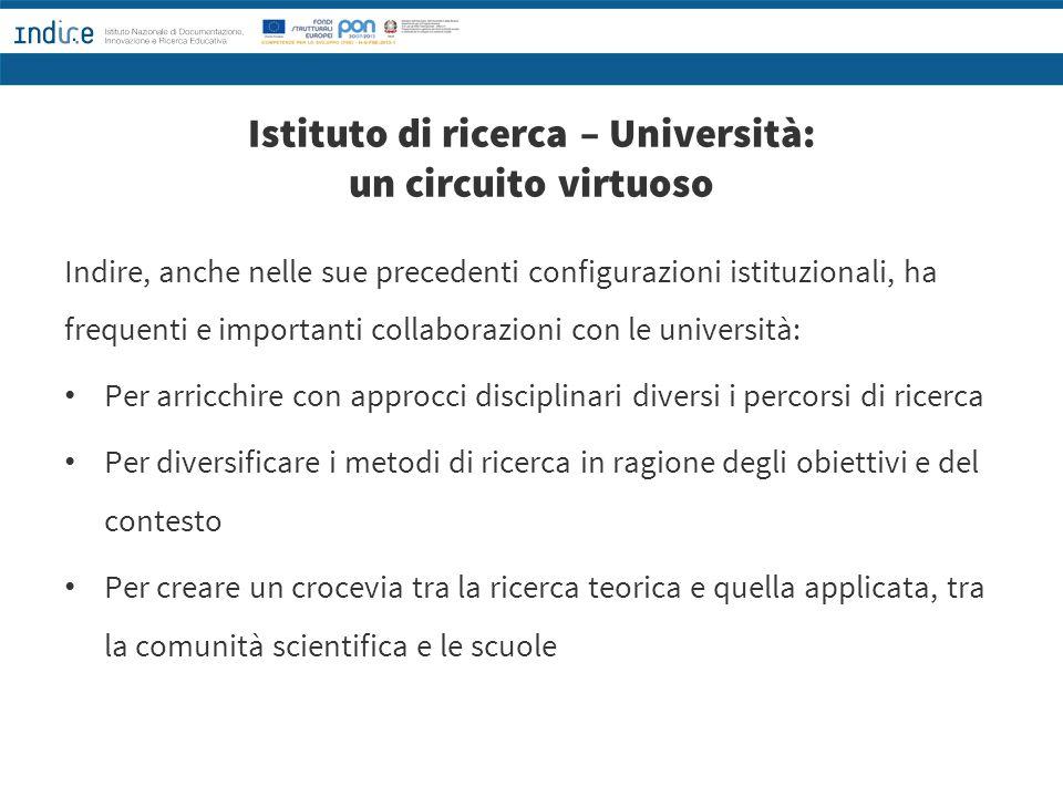 Istituto di ricerca – Università: un circuito virtuoso Indire, anche nelle sue precedenti configurazioni istituzionali, ha frequenti e importanti coll