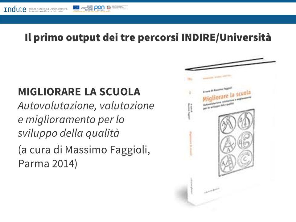 Il primo output dei tre percorsi INDIRE/Università MIGLIORARE LA SCUOLA Autovalutazione, valutazione e miglioramento per lo sviluppo della qualità (a