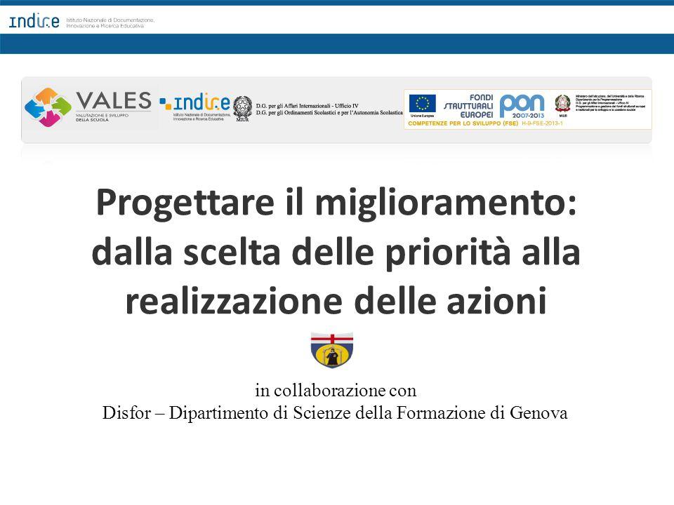Progettare il miglioramento: dalla scelta delle priorità alla realizzazione delle azioni in collaborazione con Disfor – Dipartimento di Scienze della Formazione di Genova