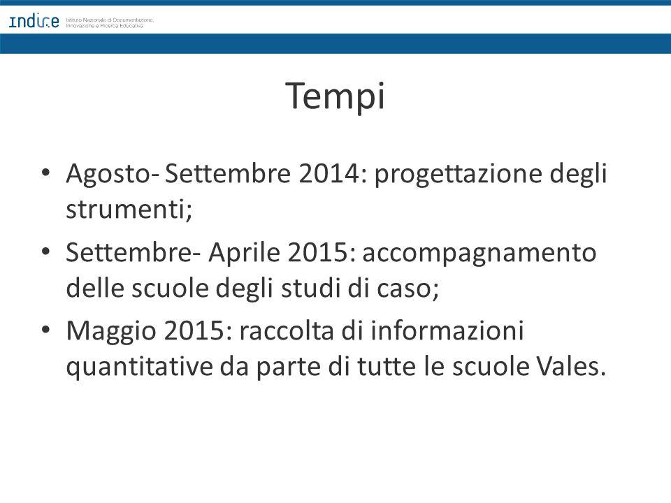 Tempi Agosto- Settembre 2014: progettazione degli strumenti; Settembre- Aprile 2015: accompagnamento delle scuole degli studi di caso; Maggio 2015: ra