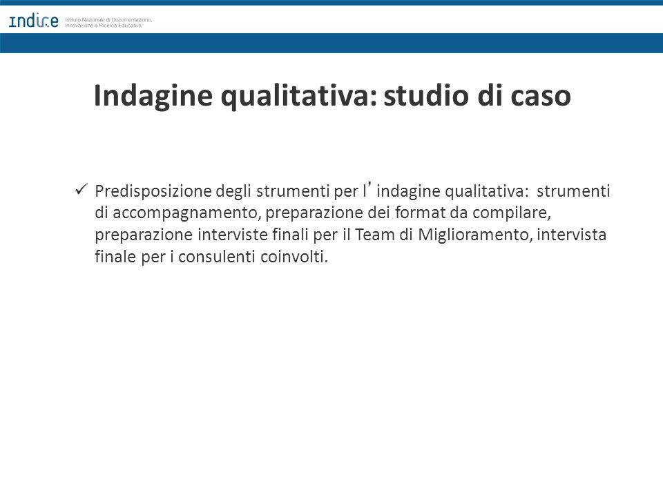 Indagine qualitativa: studio di caso Predisposizione degli strumenti per l'indagine qualitativa: strumenti di accompagnamento, preparazione dei format