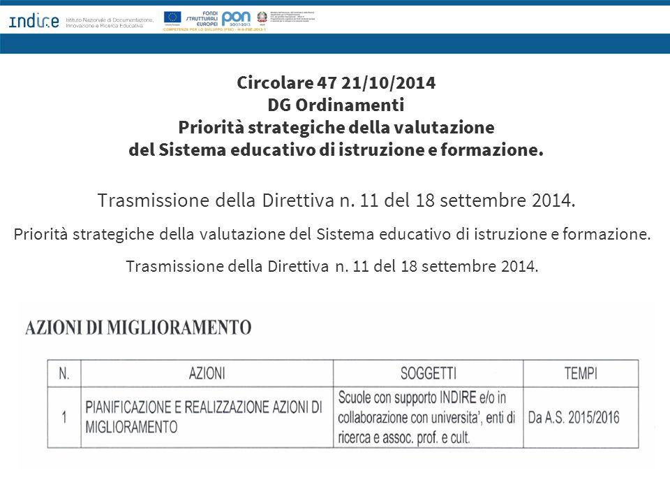 Circolare 47 21/10/2014 DG Ordinamenti Priorità strategiche della valutazione del Sistema educativo di istruzione e formazione. Trasmissione della Dir